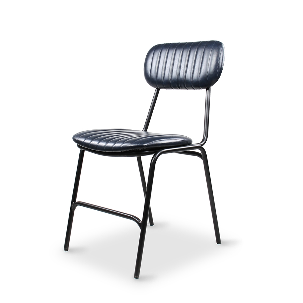 Dackar Vintage Blue Dimension W420 D520 H870 SH470mm  Style Industrial  Design Brushed metal frame, solid ply seat, high density foam. PU upholstery features single stitch detailing and piping.
